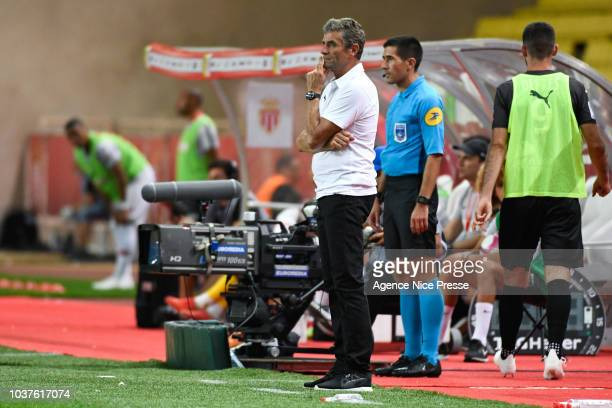 Bernard Blaquart head coach of Nimes during the Ligue 1 match between AS Monaco and Nimes at Stade Louis II on September 21 2018 in Monaco Monaco