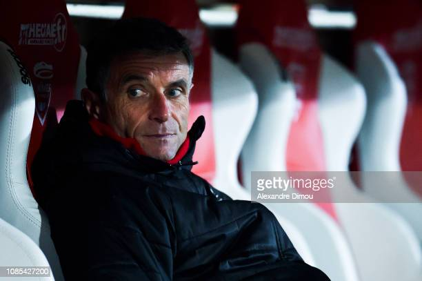 Bernard Blaquart head coach of Nimes during the Ligue 1 match between Nimes and Toulouse at Stade des Costieres on January 19 2019 in Nimes France