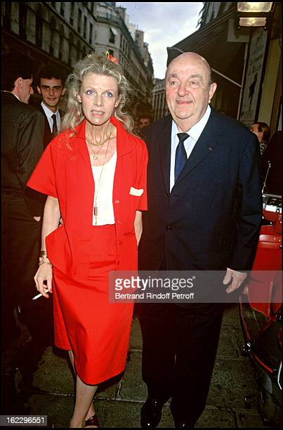Bernard Blier and his wife Annette Martin at a party at Theatre des Bouffes Parisiens in 1986