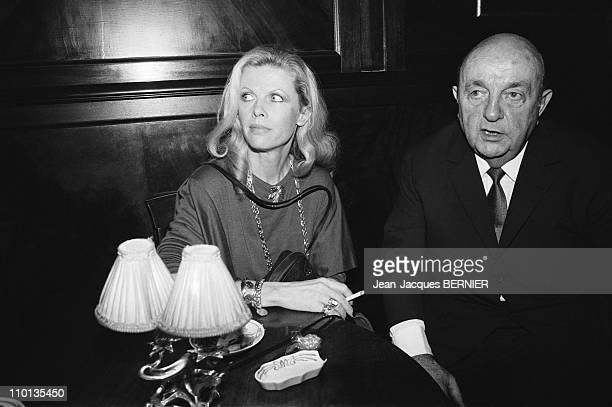 Bernard Blier and wife Annette at Maxim's restaurant attributing to Elvire Popesco in Paris France on December 19 1983