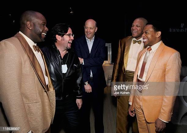 J Bernard Calloway FrancoisHenry Bennahmias Kirk Postman Will Mann and Derrick Baskin of the cast of Memphis attend the Audemars Piguet Green Room...