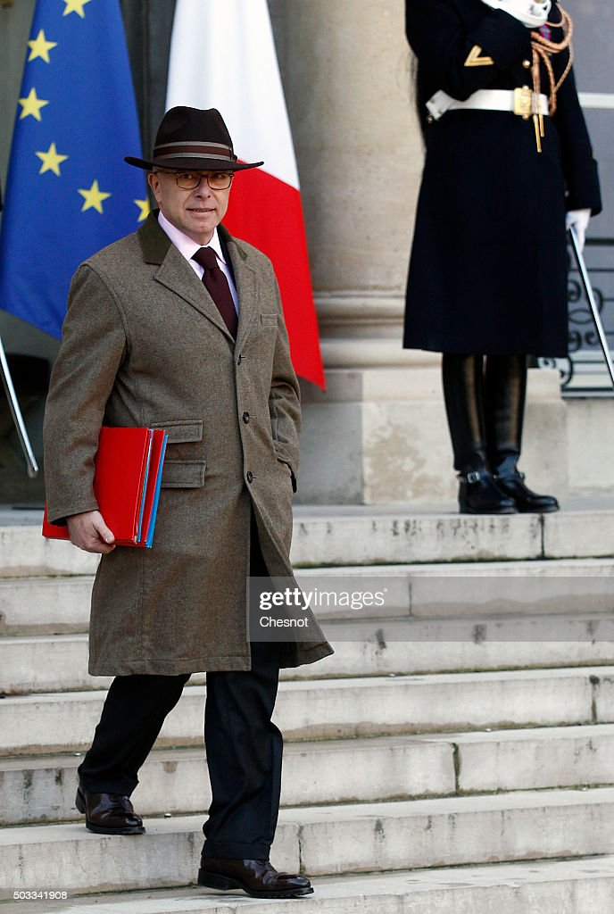 Bernard Cazeneuve, French Minister of the Interior leaves after the weekly cabinet meeting at the Elysee Presidential Palace on January 4, 2016 in Paris, France. It is the first cabinet meeting of the year 2016.