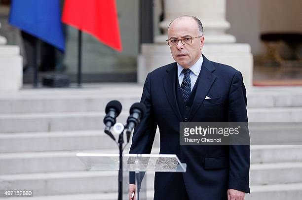 Bernard Cazeneuve French Minister of the Interior talks to the media after a crisis cabinet meeting at the Elysee Palace on November 14 2015 in Paris...