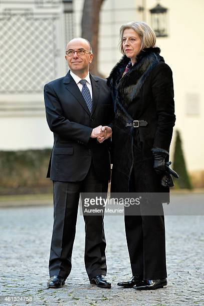 Bernard Cazeneuve FrenchMinister of Interior welcomes Theresa May the Great Britain Minister of Interior during the meeting with ministers of...