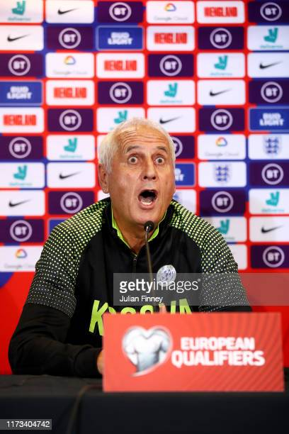 Bernard Challandes Manager of Kosovo speaks to the media during a Kosovo press conference at St Mary's Stadium on September 09 2019 in Southampton...