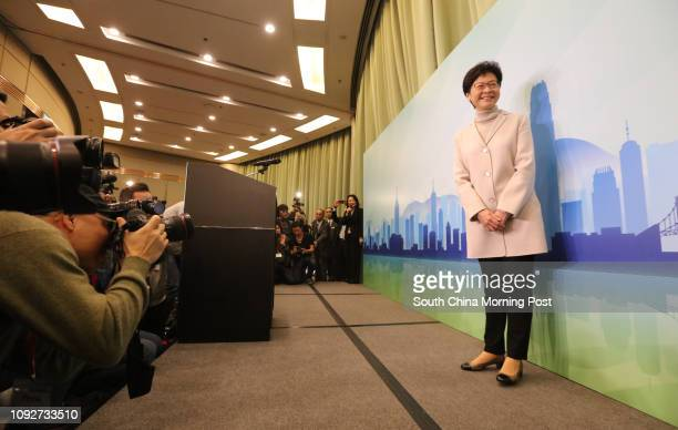 Bernard Chan and former Chief Secretary Carrie Lam Cheng Yuetngor attend presser at Hong Kong Convention and Exhibition Centre Carrie Lam Cheng...