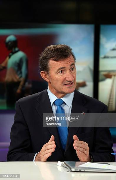 Bernard Charles chief executive officer of Dassault Systemes SA speaks during a Bloomberg Television interview in London UK on Thursday Oct 25 2012...