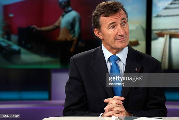 Bernard Charles chief executive officer of Dassault Systemes SA pauses during a Bloomberg Television interview in London UK on Thursday Oct 25 2012...