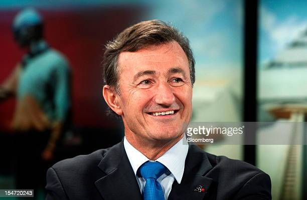 Bernard Charles chief executive officer of Dassault Systemes SA reacts during a Bloomberg Television interview in London UK on Thursday Oct 25 2012...