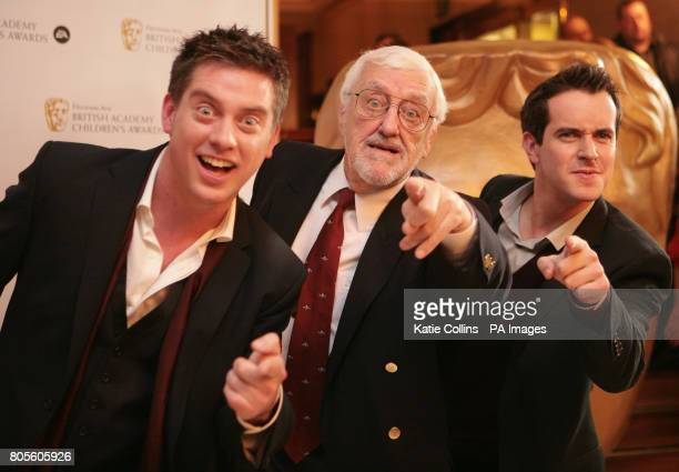 Bernard Cribbins with Dick and Dom arrive at the British Academy Children's Awards at the Hilton Park Lane