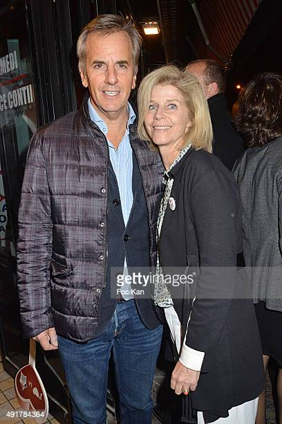 Bernard de La Villardiere and his wife Anne de La Villardiere attend the 'Le Pot au Feu des Celebrites' at the Louchebem Restaurant on October7 2015...