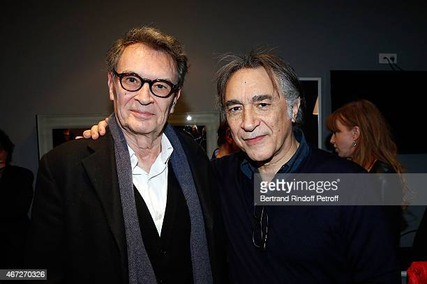 Bernard de Labbey and Richard Berry attend the last representation of Nos Femmes to the Theatre de Paris on March 22 2015 in Paris France