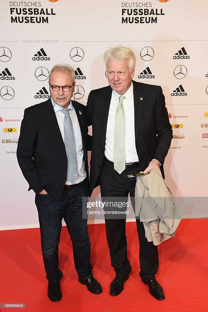 Bernard Dietz and Ullrich Sierau, mayor of City of Dortmund, arrives for the Opening Gala of the German Football Museum on October 23, 2015 in Dortmund, Germany.