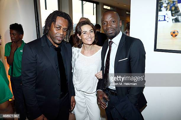 Bernard Diomede Nathalie Iannetta and Claude Makelele attend the 'Sport Citoyen' Diner at UNESCO on April 8 2015 in Paris France