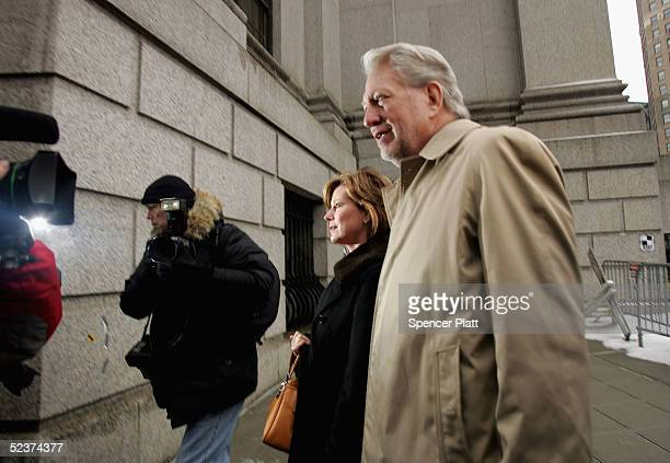 Bernard Ebbers former CEO of WorldCom enters Manhattan federal court with his wife Kristie on the 6th day of jury deliberations March 11 in New York...
