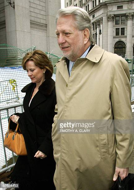 Bernard Ebbers former CEO of WorldCom enters Manhattan federal court 11 March 2005 in New York with his wife Kristie on the 6th day of jury...