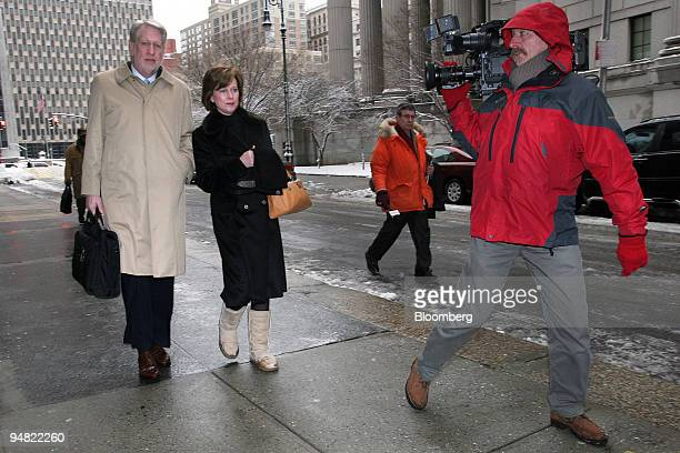 Bernard Ebbers former CEO of WorldCom Inc and his wife Kristie arrive at Manhattan Federal Court Tuesday March 1 2005