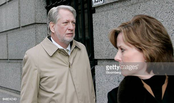 Bernard Ebbers former CEO of Worldcom leaves Manhattan Federal Court accompanied by his wife Kristie Wednesday March 2005 after another day of jury...