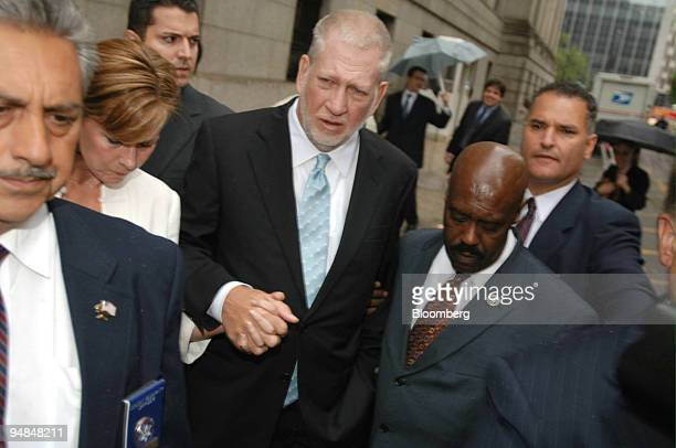 Bernard Ebbers former chairman of WorldCom Inc center leaves federal court with his wife Kristie Wednesday July 13 in New York Ebbers was sentenced...