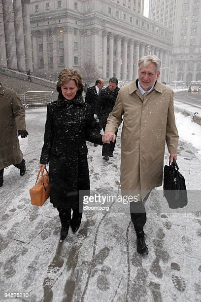 Bernard Ebbers former WorldCom Inc CEO and his wife Kristie leave Manhattan Federal Court Monday February 28 2005 Ebbers accused of orchestrating an...