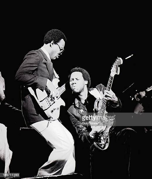 Bernard Edwards and Nile Rodgers of Chic perform on stage in London, October 1979.