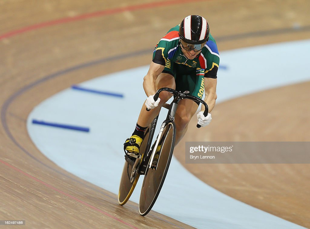 Bernard Esterhuizen of South Africa rides during qualifying for the Men's Sprint on day four of the 2013 UCI Track World Championships at the Minsk Arena on February 23, 2013 in Minsk, Belarus.