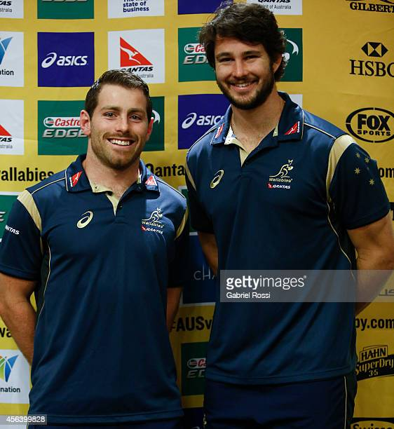 Bernard Foley and Sam Carter of Australia pose for photos during an Australian Wallabies media session at Emperador Hotel on September 30 2014 in...