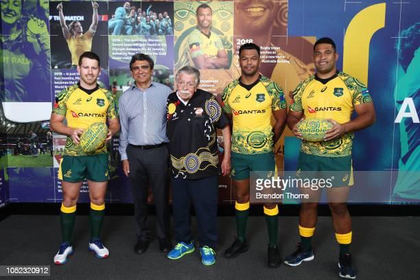 Bernard Foley Gary Ella Lloyd McDermott Kurtley Beale and Scott Sio pose during a Rugby Australia Wallabies Indigenous Jersey Media Opportunity at...