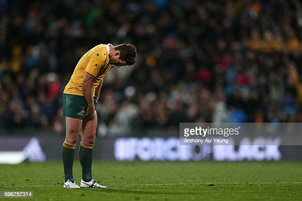 Bernard Foley of Australia dejected after losing the Bledisloe Cup Rugby Championship match between the New Zealand All Blacks and the Australia...