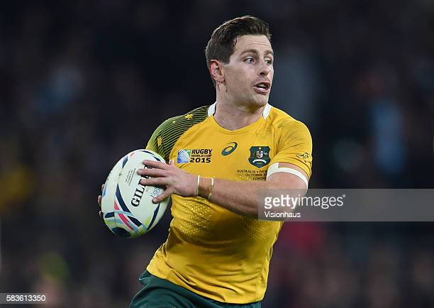 Bernard Foley of Australia during the 2015 Rugby World Cup Final between New Zealand and Australia at Twickenham Stadium in London, UK. Photo:...