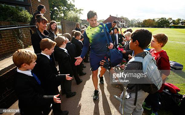 Bernard Foley of Australia leaves through a guard of honour following a training session at Dulwich College on October 8, 2015 in London, United...