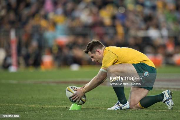 Bernard Foley of Australia lines up to take a kick during The Rugby Championship Bledisloe Cup match between the Australian Wallabies and the New...