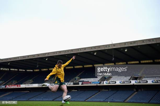 Bernard Foley of Australia practices his kicking during the Australia Captain's Run at Murrayfield Stadium on November 24 2017 in Edinburgh Scotland