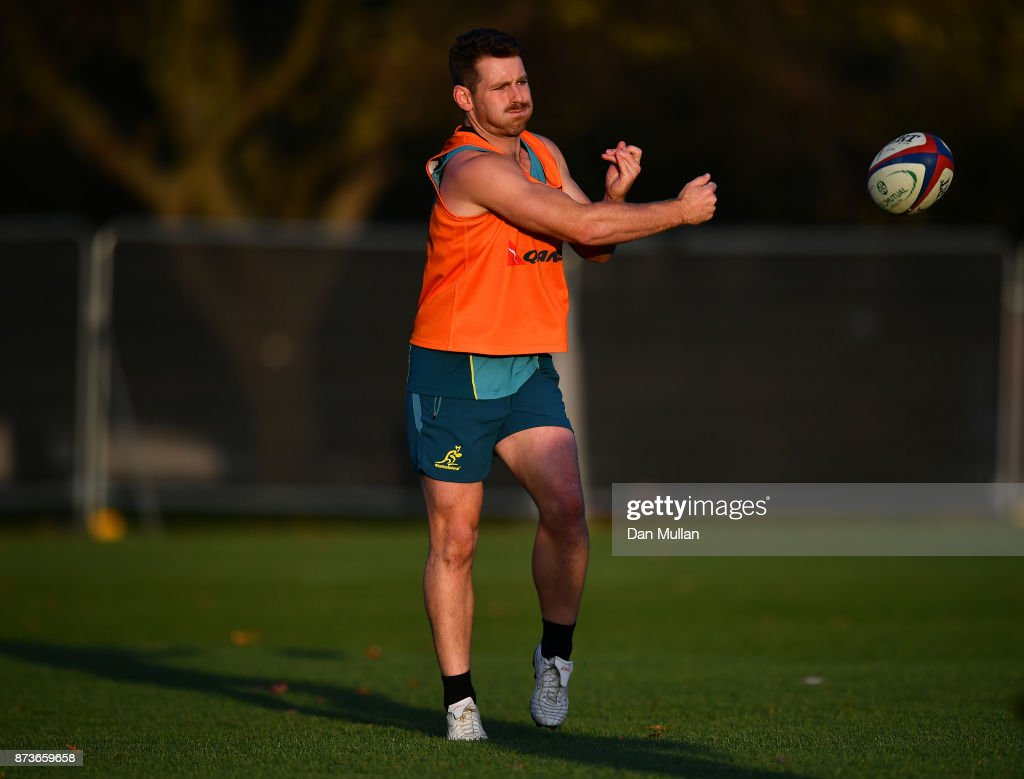 Bernard Foley of Australia releases a pass during a training session at the Lensbury Hotel on November 13, 2017 in London, England.
