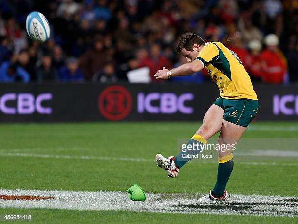 Bernard Foley of Australia shoots to poals during a match between Argentina Los Pumas and Australia Wallabies as part of The Rugby Championship 2014...