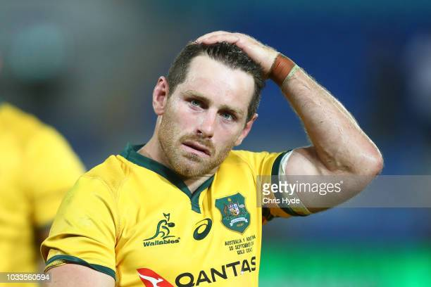 Bernard Foley of the Wallabies looks on after losing The Rugby Championship match between the Australian Wallabies and Argentina Pumas at Cbus Super...