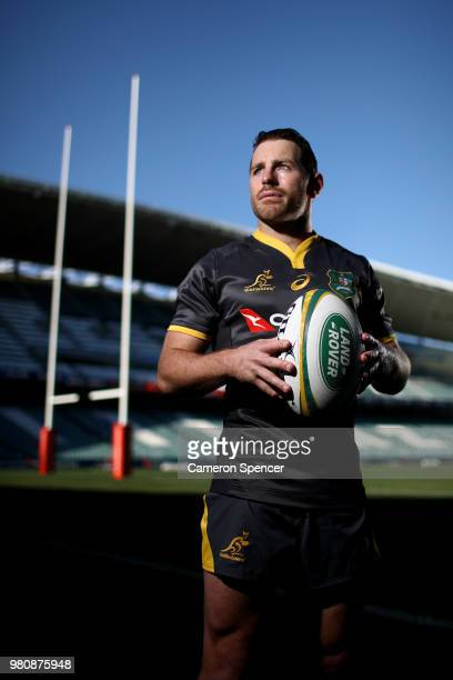 Bernard Foley of the Wallabies poses for a portrait during the Australian Wallabies captain's run at Allianz Stadium on June 22 2018 in Sydney...