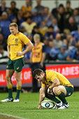 perth australia bernard foley wallabies reacts