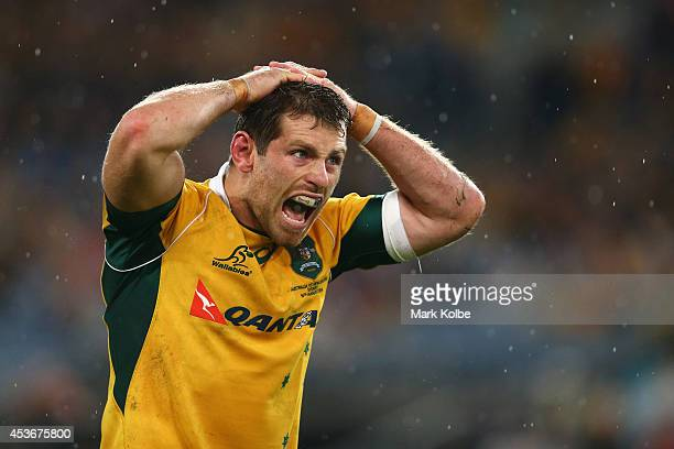Bernard Foley of the Wallabies shouts in frustration as the match finishes as a 12 all draw during The Rugby Championship match between the...