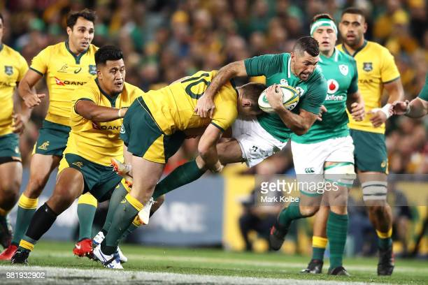 Bernard Foley of the Wallabies tackles Rob Kearney of Ireland during the Third International Test match between the Australian Wallabies and Ireland...
