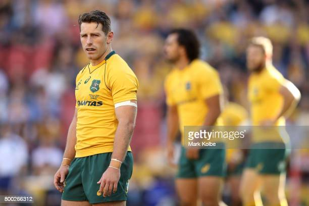 Bernard Foley of the Wallabies watches on during the International Test match between the Australian Wallabies and Italy at Suncorp Stadium on June...