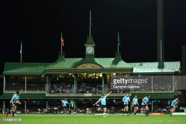 Bernard Foley of the Waratahs kicks a goal during the round 10 Super Rugby match between the Waratahs and the Melbourne Rebels at the Sydney Cricket...