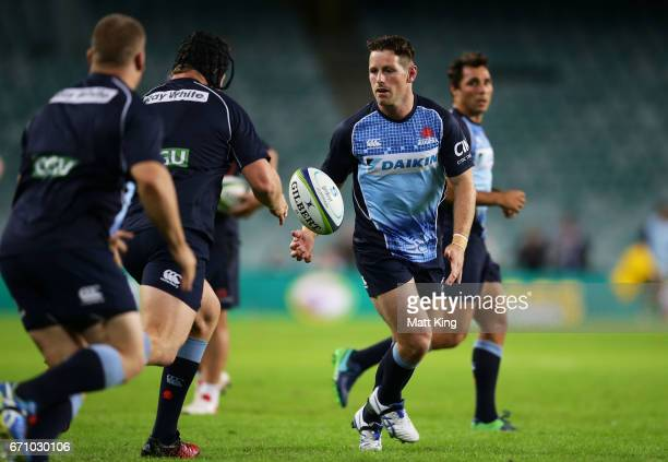 Bernard Foley of the Waratahs warms up before the round nine Super Rugby match between the Waratahs and the Kings at Allianz Stadium on April 21 2017...