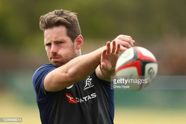 Bernard Foley passes during an Australian Wallabies training session at Sanctuary Cove on September 4 2018 in Gold Coast Australia