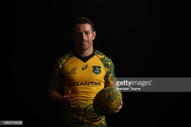 Bernard Foley poses during a Rugby Australia Wallabies Indigenous Jersey Media Opportunity at Moore Park on October 17 2018 in Sydney Australia
