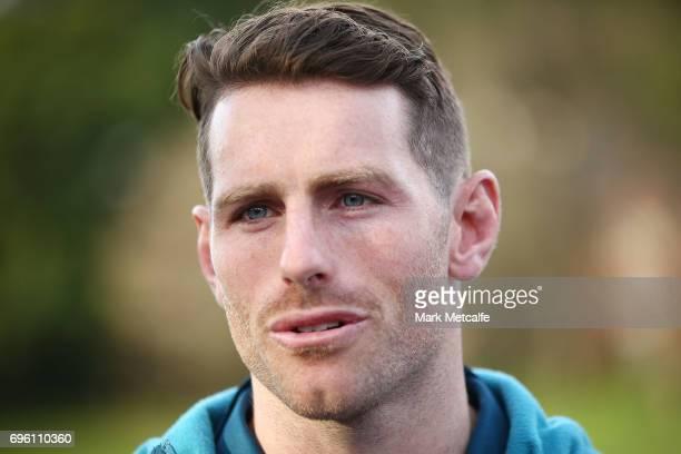 Bernard Foley speaks to media during an Australian Wallabies media opportunity at Lough Playing Fields on June 15 2017 in Sydney Australia