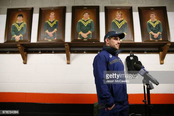Bernard Foley speaks to the media during an Australian Wallabies training session at Leichhardt Oval on June 19 2018 in Sydney Australia