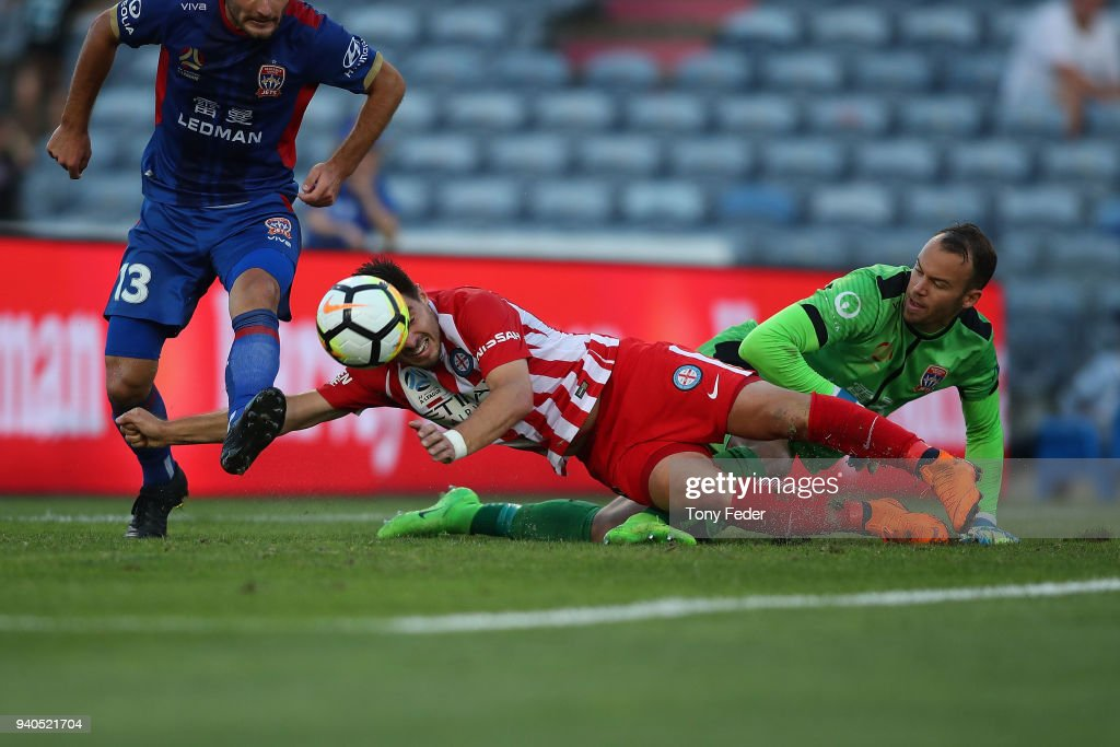 Bernard Fornaroli of Melbourne City contests the ball with Jack Duncan of the Jets during the round 25 A-League match between the Newcastle Jets and Melbourne City at McDonald Jones Stadium on April 1, 2018 in Newcastle, Australia.