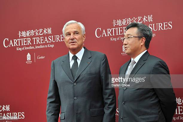 Bernard Fornas and Nigel Luk attendthe opening of the 'Cartier Treasures' exhibition at the Forbidden City September 4 2009 in Beijing China