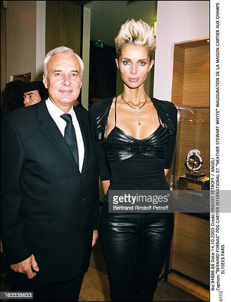 """Bernard Fornas CEO Cartier International and """"Heather Stewart Whyte"""" inauguration of a new shop Cartier at the Champs Elysees in Paris."""